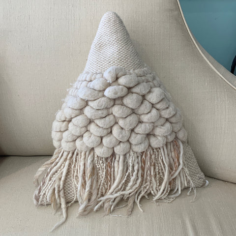 Triangle Creamy White Textural Pillow by Wendi M
