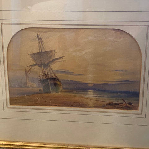 Watercolor Seascape by Listed English Artist, John Connell Ogle