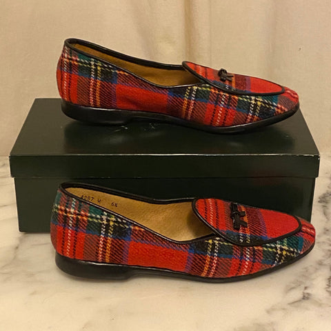 Belgian Shoes Red Tarten Plaid Loafers