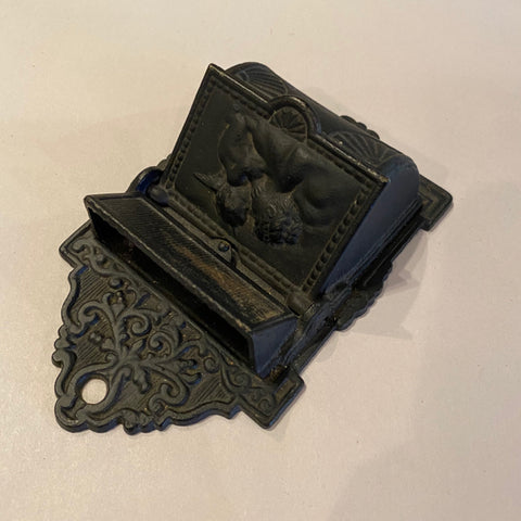 Black Metal Wall Mount Match Box Holder