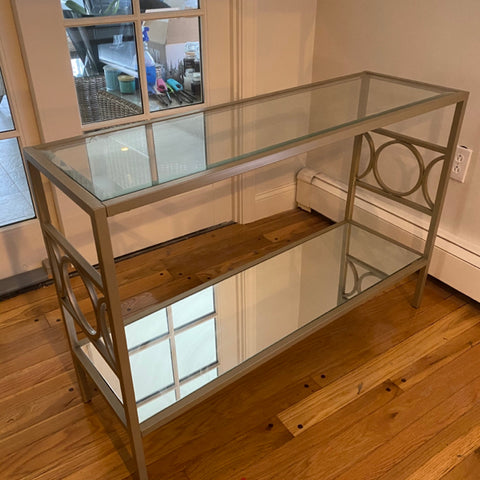 Glass and Mirrored Shelf Console Table