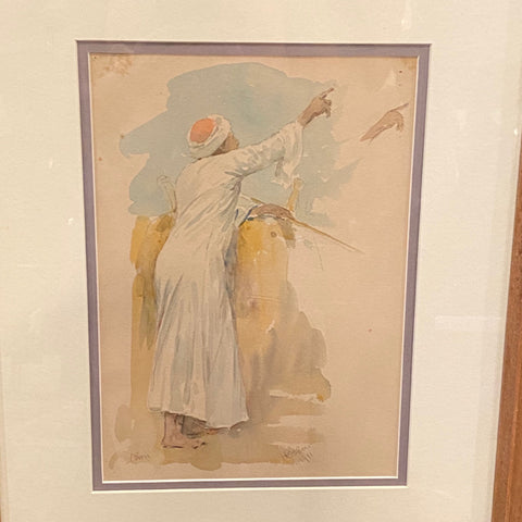 Watercolor Painting with Sketch on Back by F Bacon, 1911