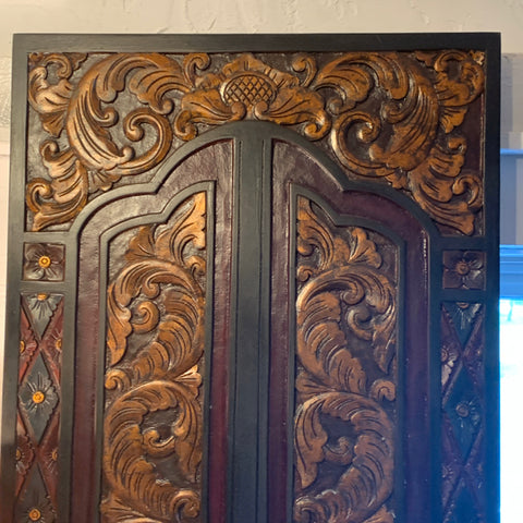 Carved Wood Wall Panel Similar to Temple Door