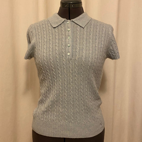 Burberry Cashmere Cable Knit Short Sleeve Sweater