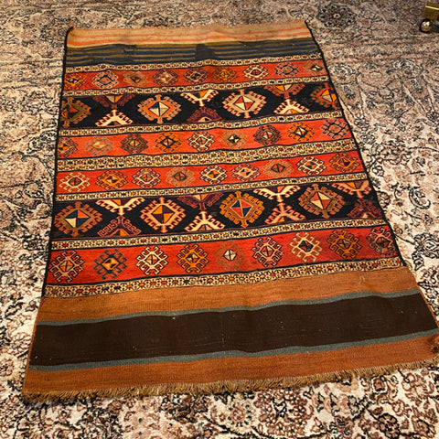 "Striped Kilim Rug in Orange, Red Brown Threads 2'10"" x 4'3"""