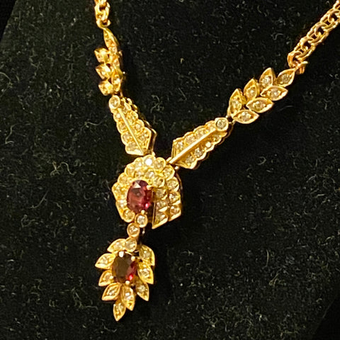 14k Diamond Ruby Necklace