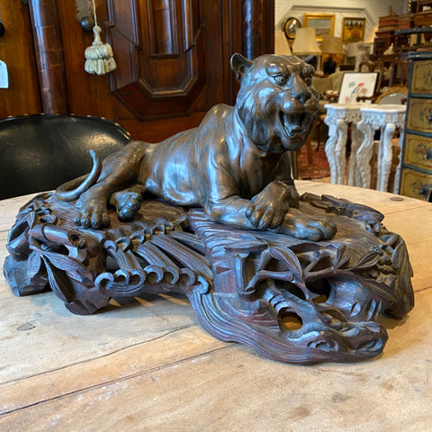 signed bronze tiger on amazing carved base