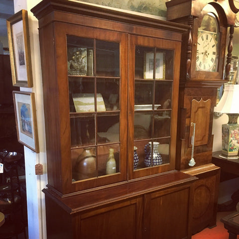 Step Back Cabinet Bookcase, c. 1800 with Original Glass