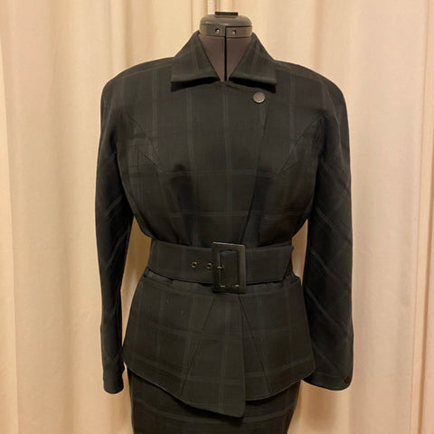 Thierry Mugler Grey Plaid Belted Jacket Suit Set