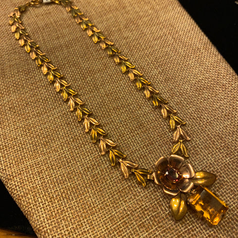 14k Rose and Yellow Gold Necklace with Citrine and Tourmaline Pendant