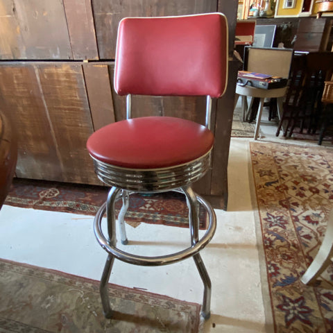 Pair of Red and Chrome Counter Stools