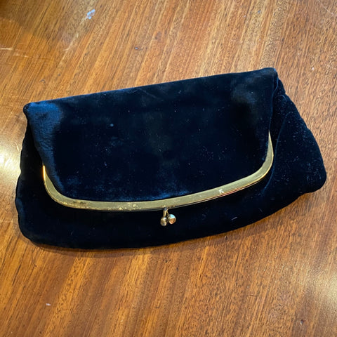 Black Velvet Fold Over Clutch
