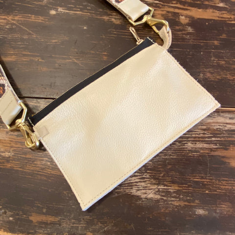 Ivory Leather Zipper Pouch & Strap