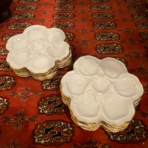 Limoges White Oyster Plates with Gold Trim, Set of 12