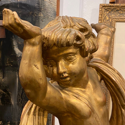 gilt carved wood putti