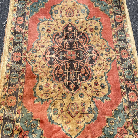 Pink & Light Blue Medallion Persian Rug 3' x 5'