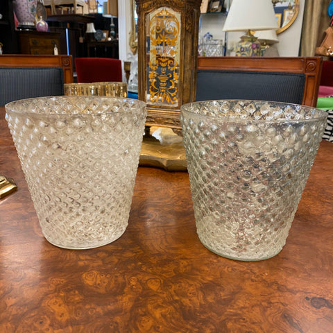 Pottery Barn Quilted Glass Candle Buckets