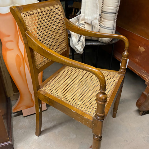 Caned Wood Arm Chair