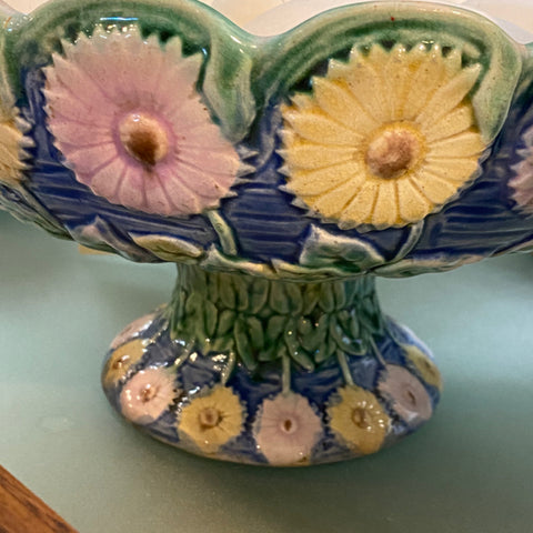 Pink and Green Floral Pedestal Bowl