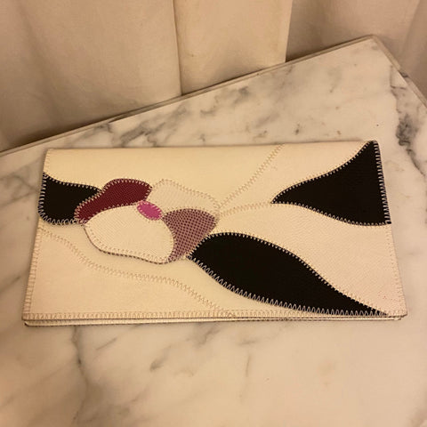 Furst and Mooney White Leather Applique Clutch w Flower Motif