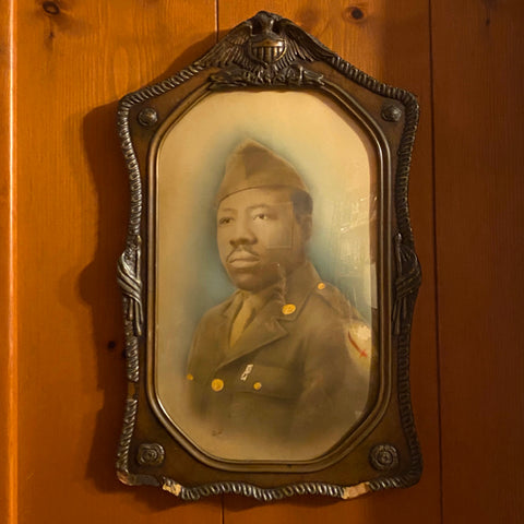 Portrait of Black Military Officer in Wood Frame