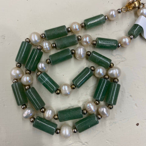 14k Jade and Pearl Necklace