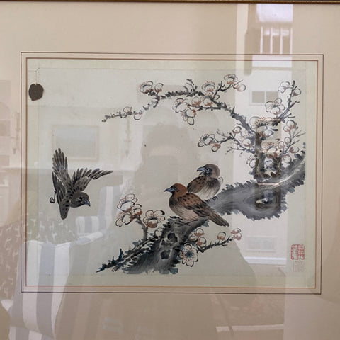 Bird Woodblock in Gold Frame