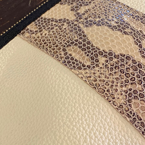 Ivory Leather Tapered Pouch with Snake Print Detail