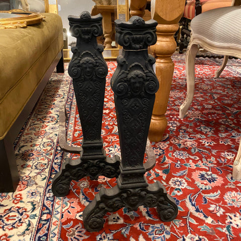 Pair of Black Andirons with Figural Details