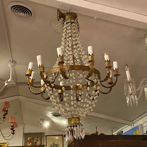 12 Arm Gilt Metal Chandelier with Beaded Garlands