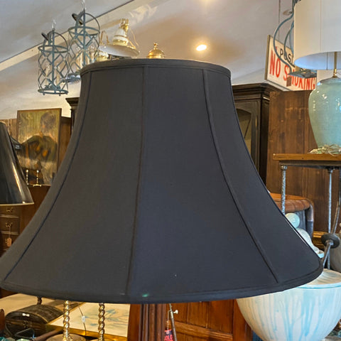 Carved wood fluted floor lamp with black shade