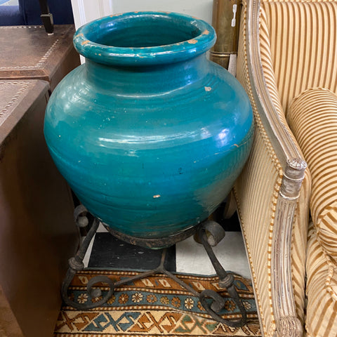 Pair of Turquoise Spanish Pottery Vases in Scrolled Iron Stands