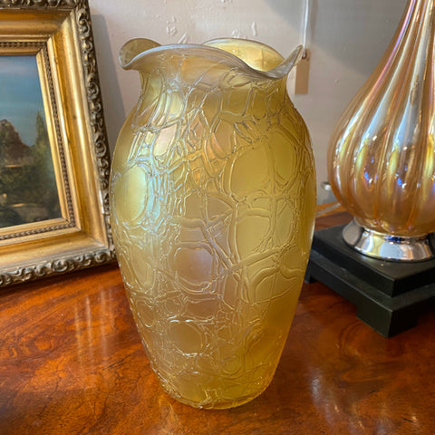 Yellow Textured Glass Vase