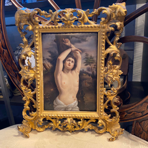 Painting on Porcelain of Woman on Cross in Ornate Frame
