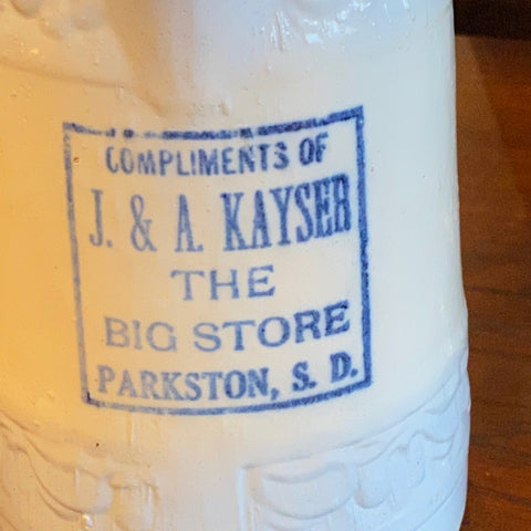 Stoneware Pitcher, JA Kayser, The Big Store Parkston