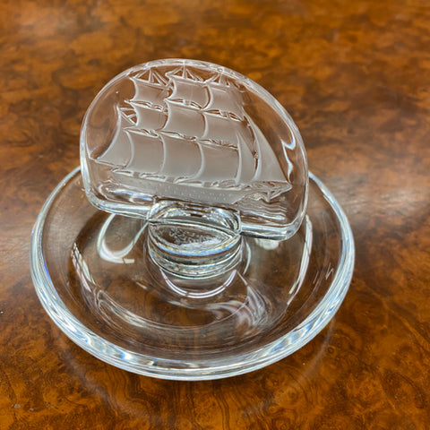 Lalique Ring Dish with Sailing Ship