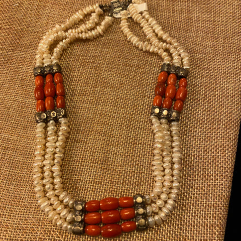 Sterling, Coral and Pearl Necklace