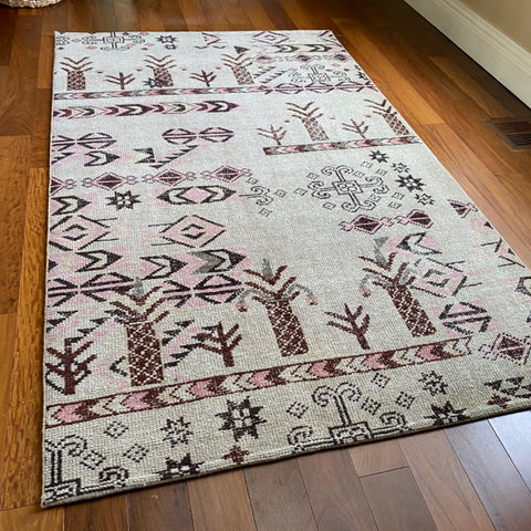 West Elm Pink, Cream, Brown Tribal Rug, 5' x 8'