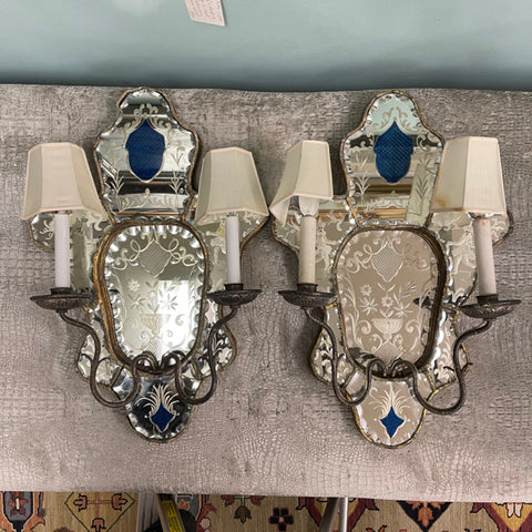 Pair of Antique Venetian Mirrored Glass Double Arm Sconces