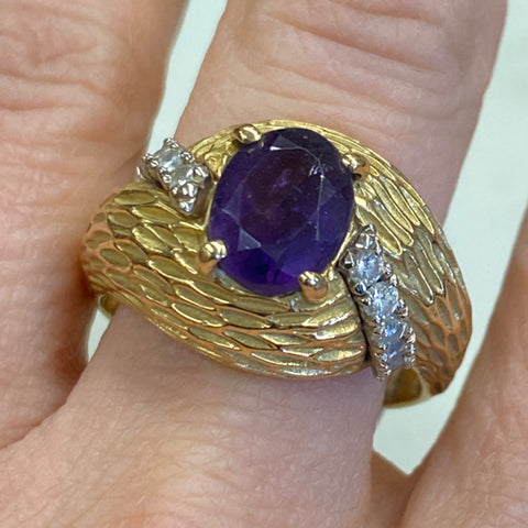 Amethyst & Diamond 18k Ring