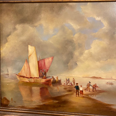 Sailboat Beachscape Painting by A. Yoder