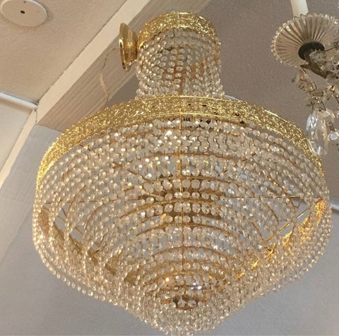 Cut Glass Swarovski Crystal Tiered Chandelier with Filigree Crowns