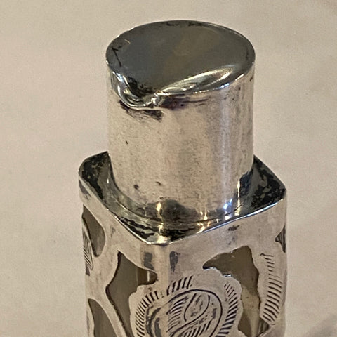small sterling overlay on glass perfume