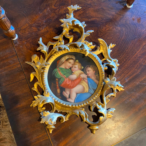 Painting on Porcelain of Madonna and Child in Ornate Gold Frame