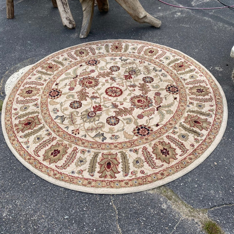 Round Rug, Ivory Ground, Machine Made