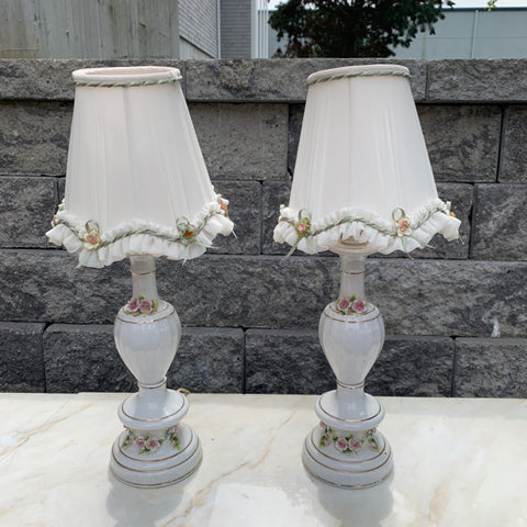 Pair of Petite White Porcelain & Lamps with Flowers