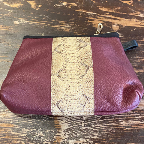 Sonoma Wine Leather Tapered Pouch with Snake Print Detail