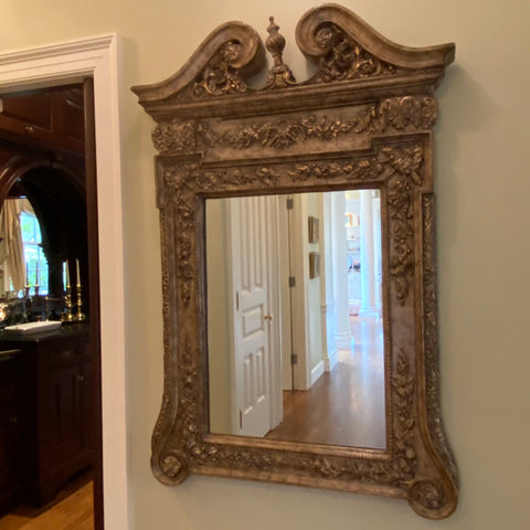 Ornately Carved Mirror with Scroll Urn Pediment
