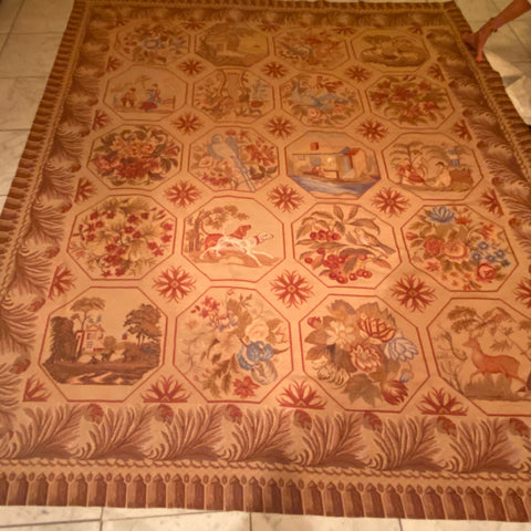 Woolen Needlepoint Rug, as is 6' x 7'