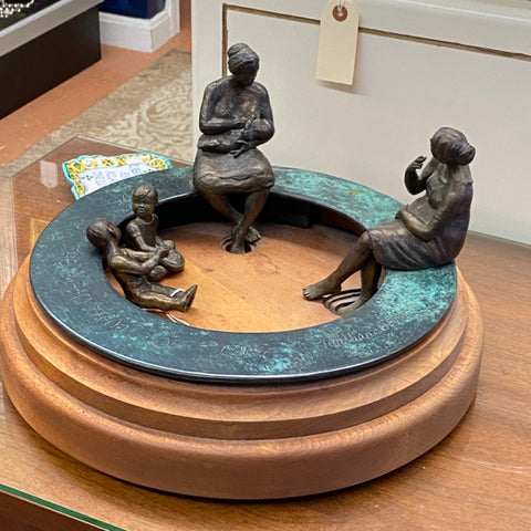 Bronze Statues on Wood Base, 3 pieces,  by Christian Bernard